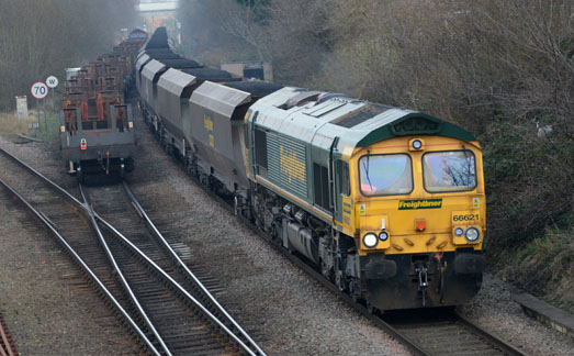 66621 passing 66076 at Water Orton