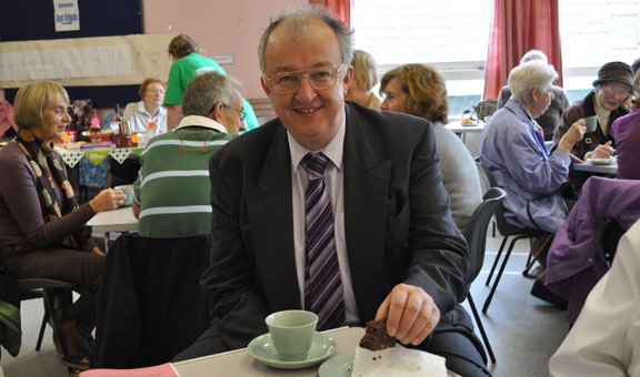 John Hemming enjoying his Coffee and Cake