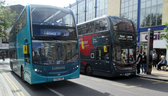 Sapphire Bus 4411 passing National Express
