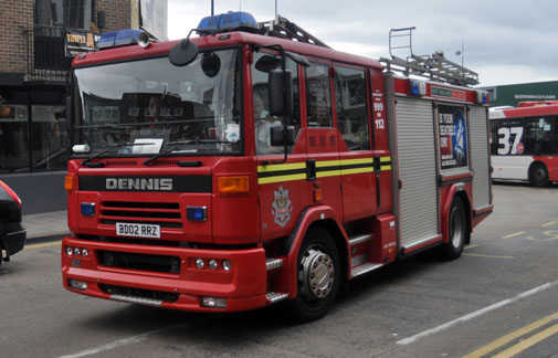 West Midlands Fire Service fire engine BD02 RRZ